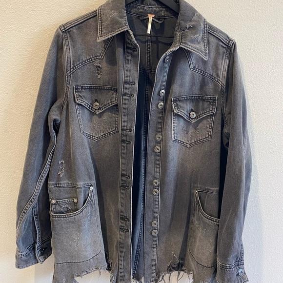 Free People distressed denim jacket